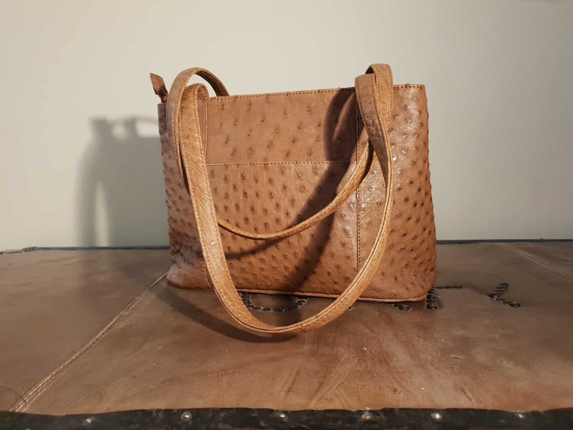 Brown Ostrich Leather Handbag Karoo
