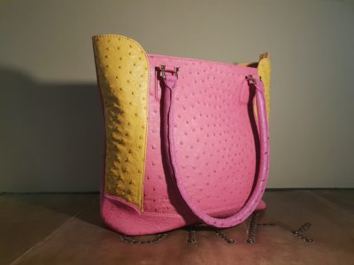 Pink Ostrich Leather Handbag Karoo