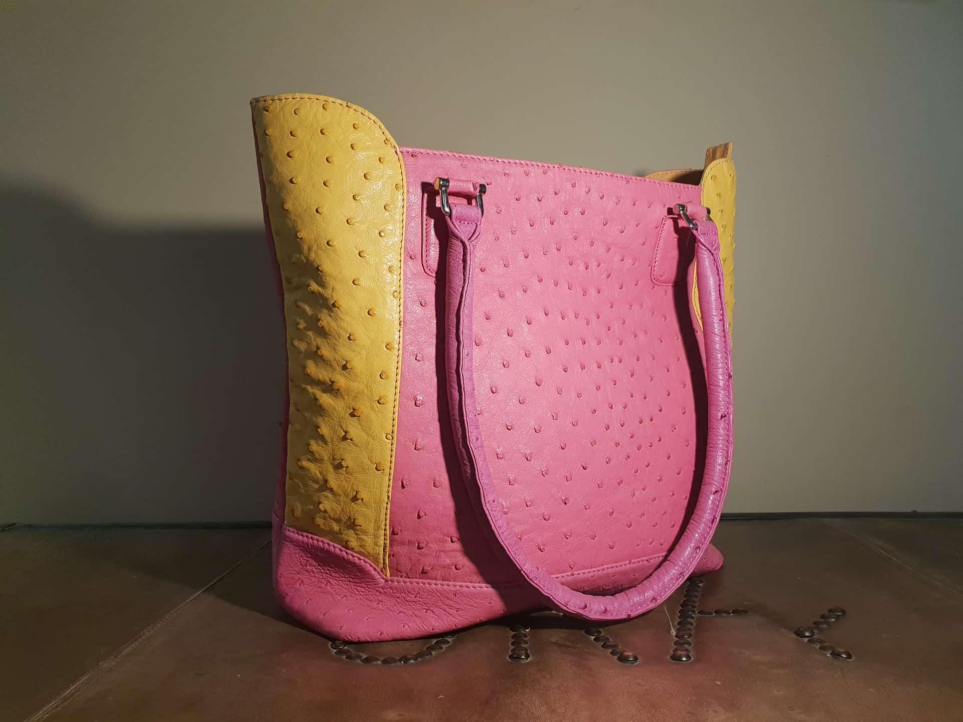 Pink Ostrich Leather Handbag Karoo