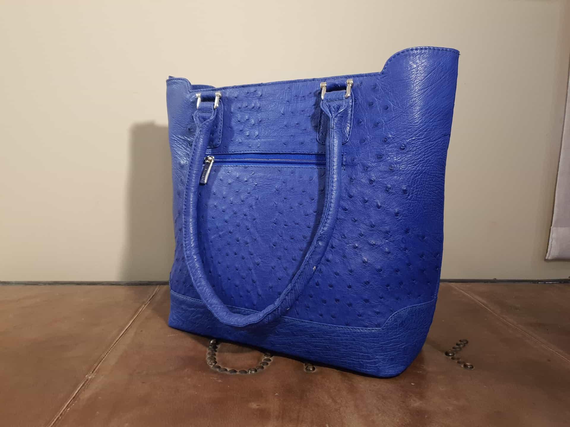 Blue Ostrich Leather Handbag Karoo