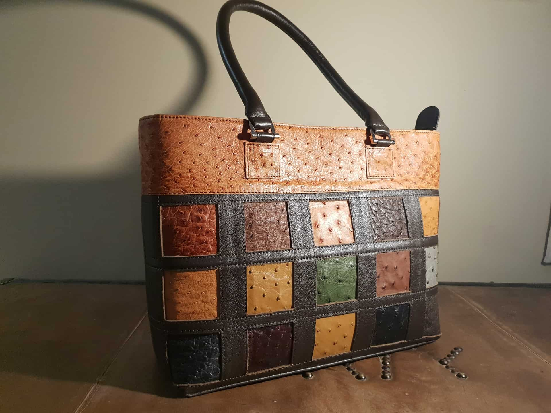 Multi-coloured Ostrich Leather Bag Karoo