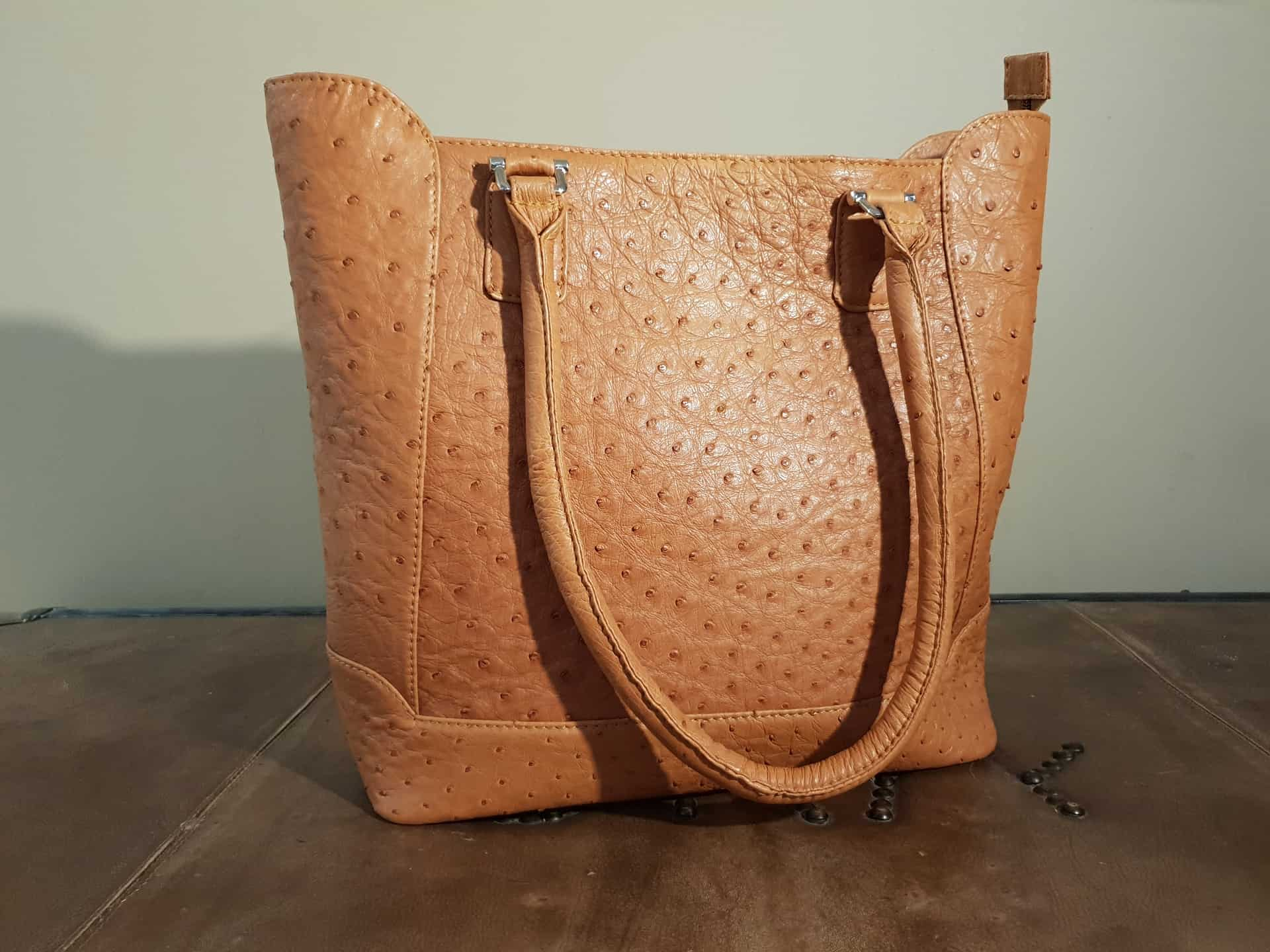 Brown Ostrich Leather Handbag Karoo