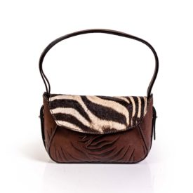 Leather and zebra hide handbag