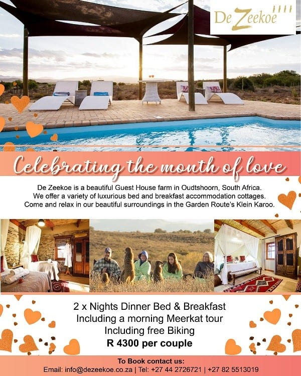 Oudtshoorn Accommodation special Valentines Month 2020